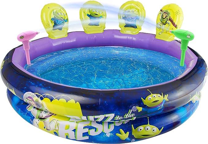 Disney Piscina Inflable Toy Story 4 | Piscina para Niños Al Aire Libre con Actividad De Tiro Al Blanco, Incluye 2 Pistolas De Agua Buzz Lightyear, 4 Objetivos 3D Alien Fun |