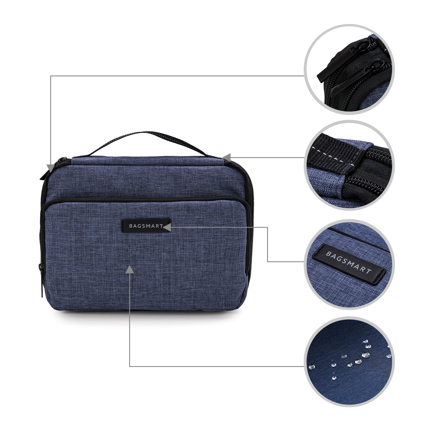 BAGSMART 3-layer Travel Electronics Cable Organizer Bag for 9.7'' iPad, Hard Drives, Cables, Charger, Kindle, Blue by BAGSMART (Image #6)