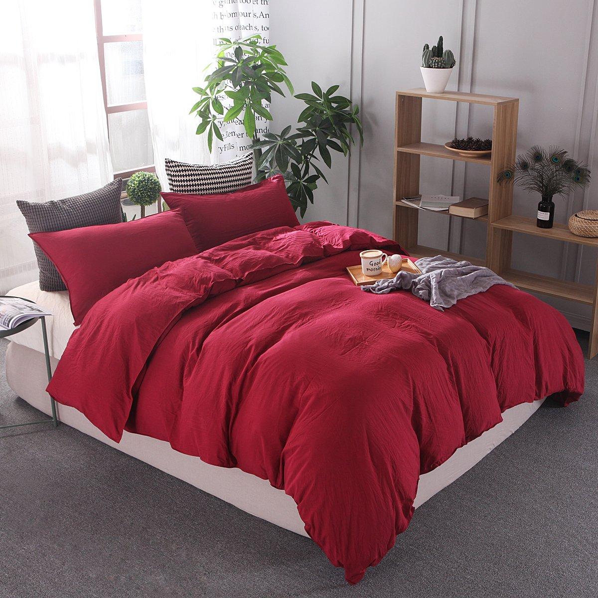HeavenホームテキスタイルWashedコットンソフトで快適な寝具 ツイン レッド red t B07B3RW4K6 ツイン|レッド レッド ツイン