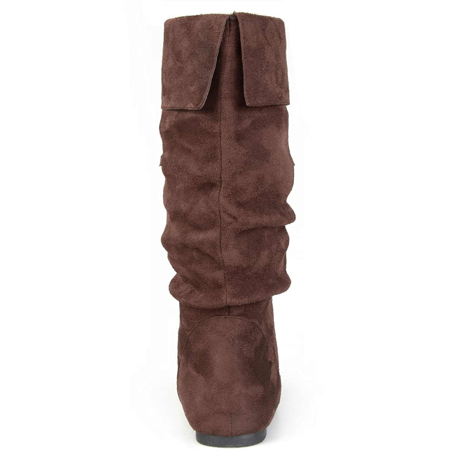Journee Collection Womens Regular Size and Wide-Calf Slouch Mid-Calf Microsuede Boot
