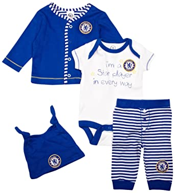 d0d900303 Chelsea Football Club Unisex Baby Giftset Cardigan Bodysuit Hat and Legging  Set Blue White and Stripe 3 - 6 Months 4 Pieces: Amazon.co.uk: Clothing
