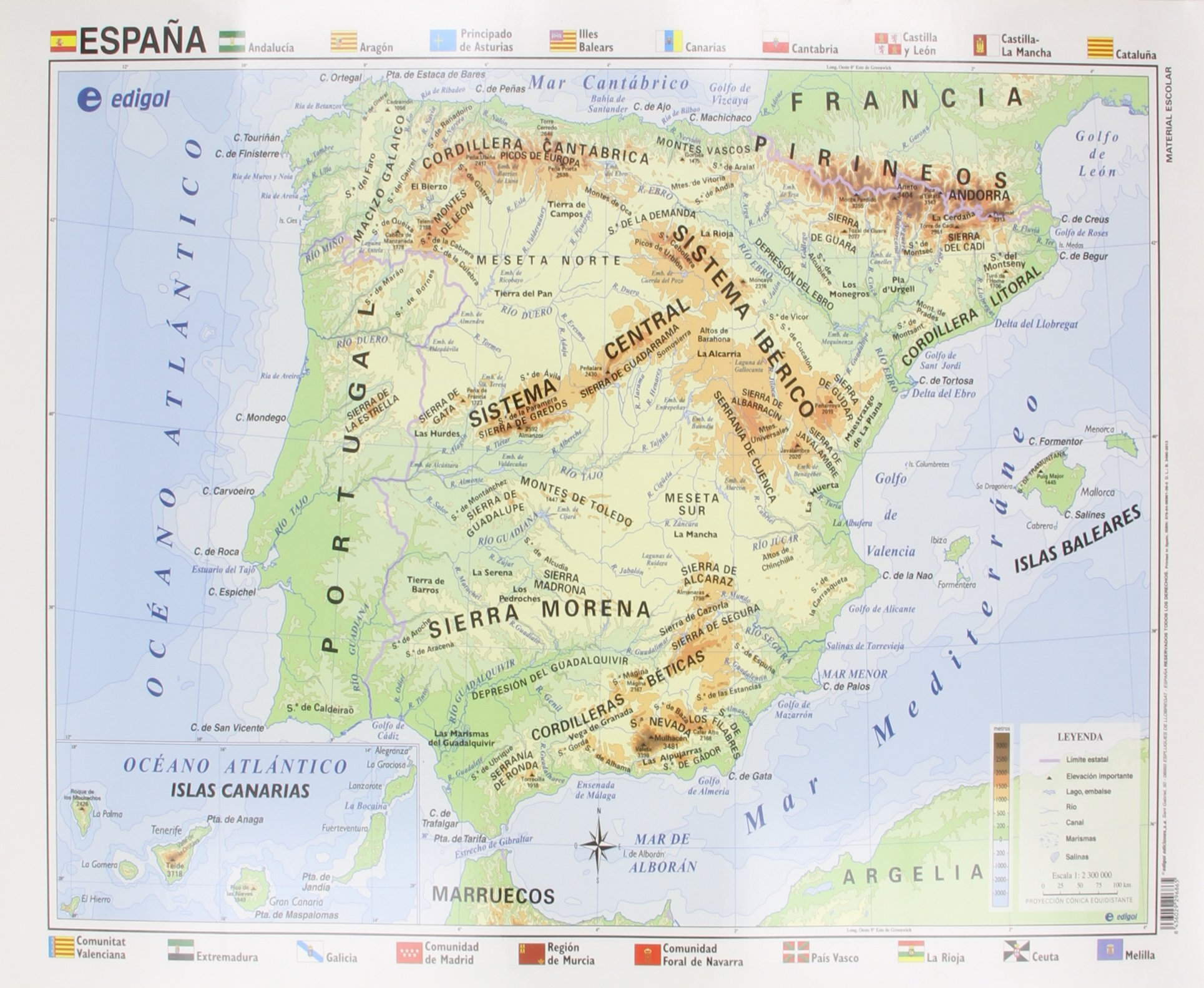 Mapa EDIGOL Poster 70x50 cm Fisico POLITICO sin Varilla ESPAÑA ...
