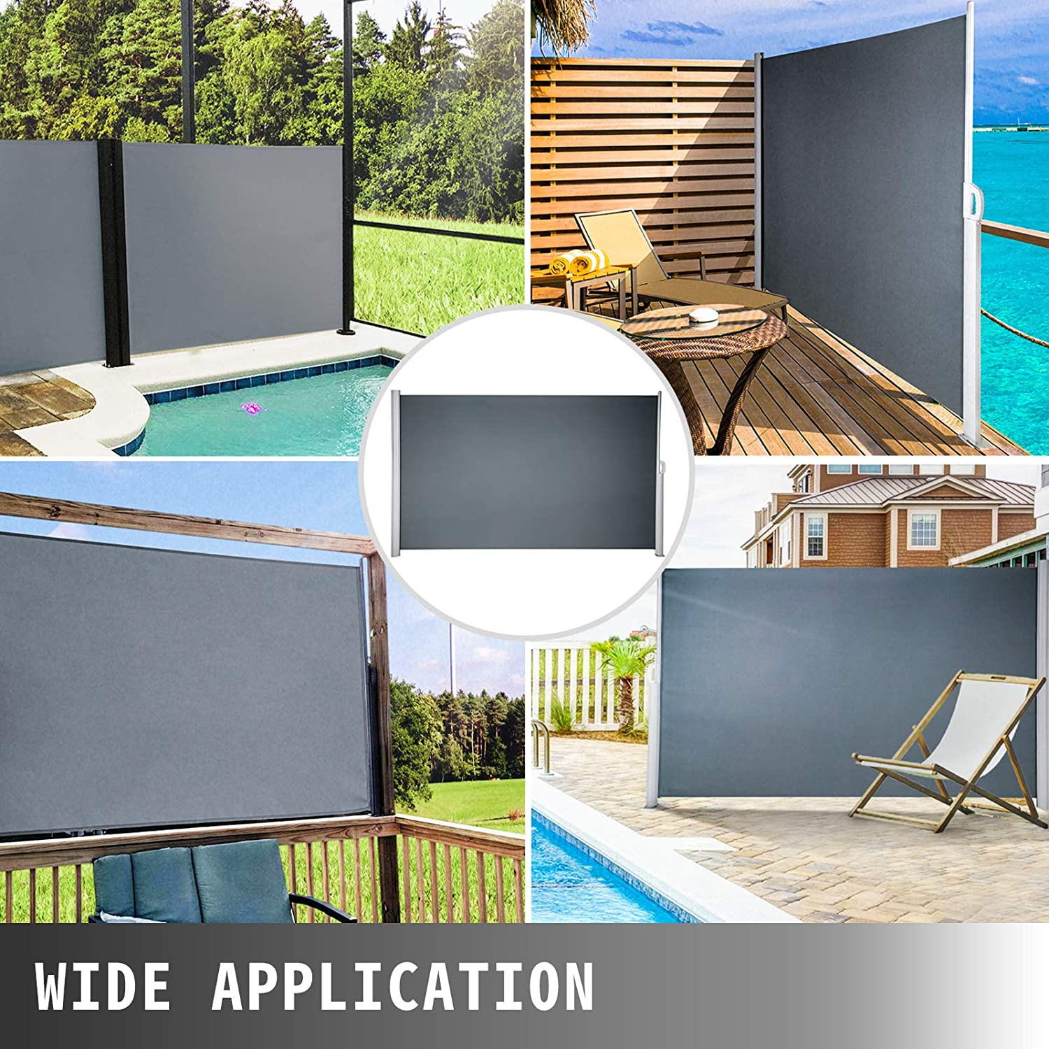 Patio and Terrace LOVESHARE Retractable Side Awning 118 x 63 Retractable Patio Screen Waterproof Outdoor Retractable Room Divider Black for Privacy Garden