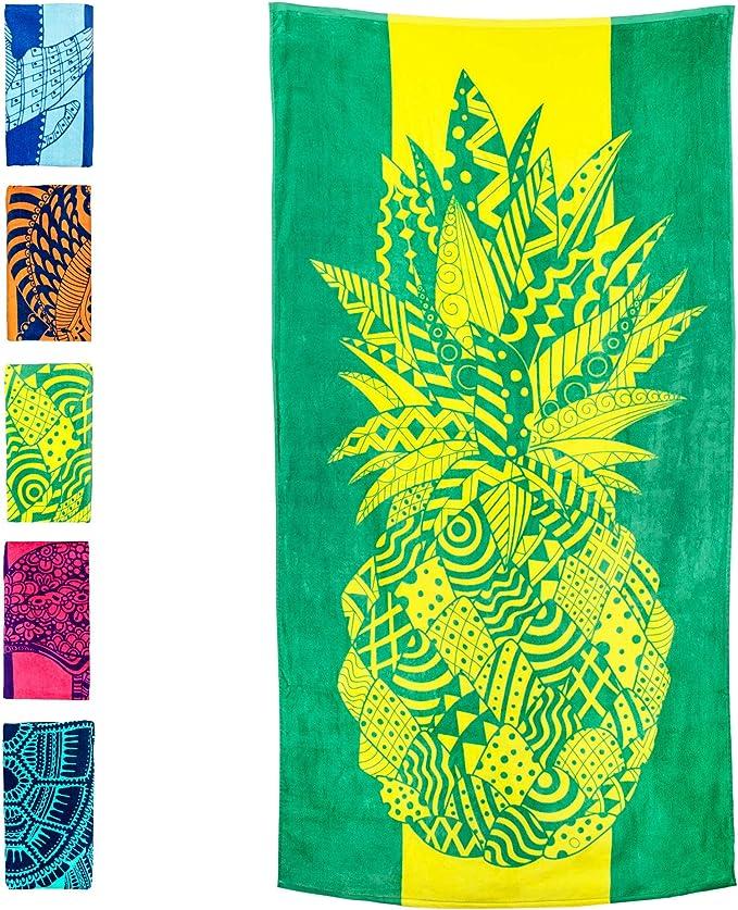 Cotton 70 x 140cm Blue Sass /& Belle Variegated Leaves Beach Towel