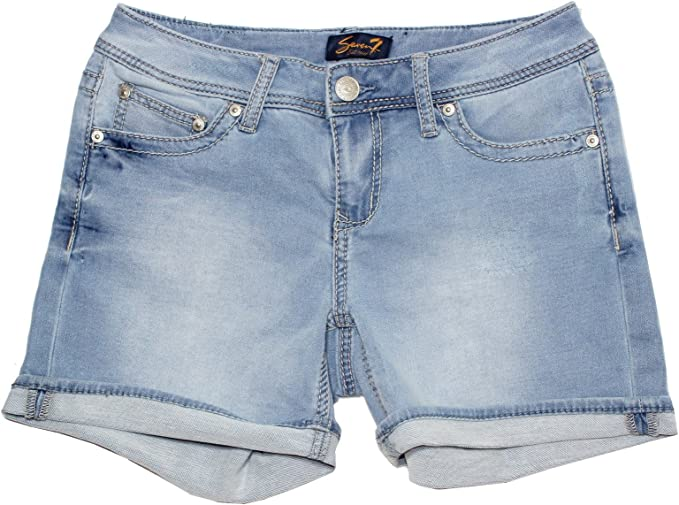 Seven7 Womens Cuffed 5 Inch Denim Short with Embroidered E Loop Pockets