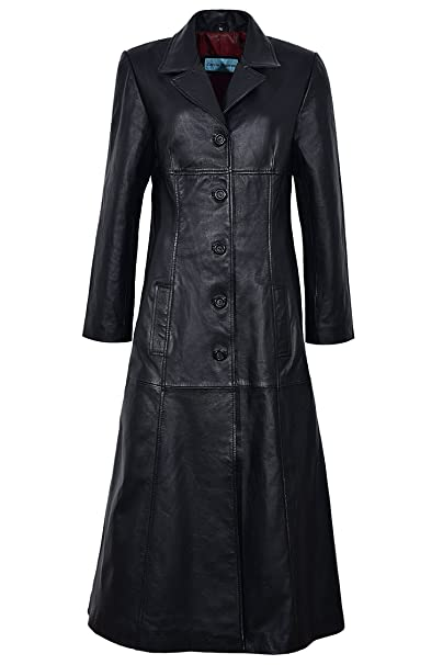 factory outlet fashion design 50-70%off Trench Ladies Black Classic Full-Length Gothic Real Nappa Leather Jacket  Coat 298