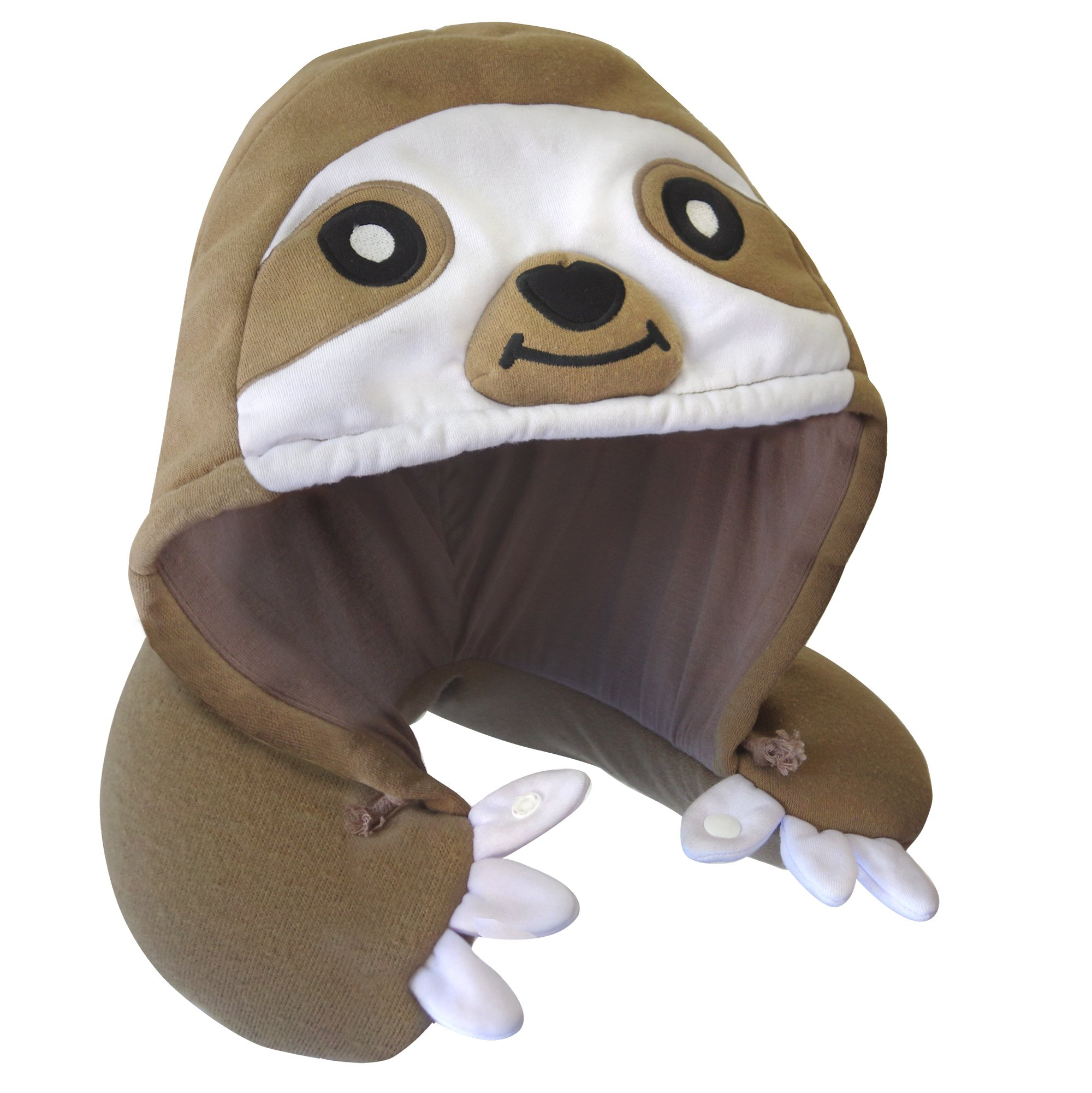 Chibiya Sloth Hooded Animal Travel Neck Pillow Plush Toy Gift, Microbead, Adjustable Drawstring, Perfect For Sleeping On Airplane With Comfortable Neck Support Designed In Japan