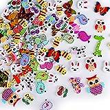 100 pz Bottoni Animali Legno Natalizio Assortiti per Decorazioni Cucito Fai da Te Scrapbooking Artigianato Bricolage Natale