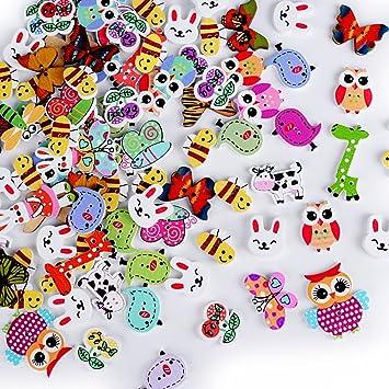 Aoner Ca 100 Stück Holzknöpfe Tiere Knöpfe Nähen Knöpfe Zum