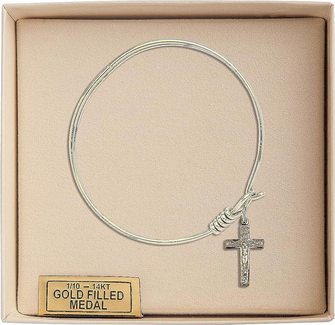 Bonyak Jewelry Round Eye Hook Bangle Bracelet w//Crucifix in Gold-Filled