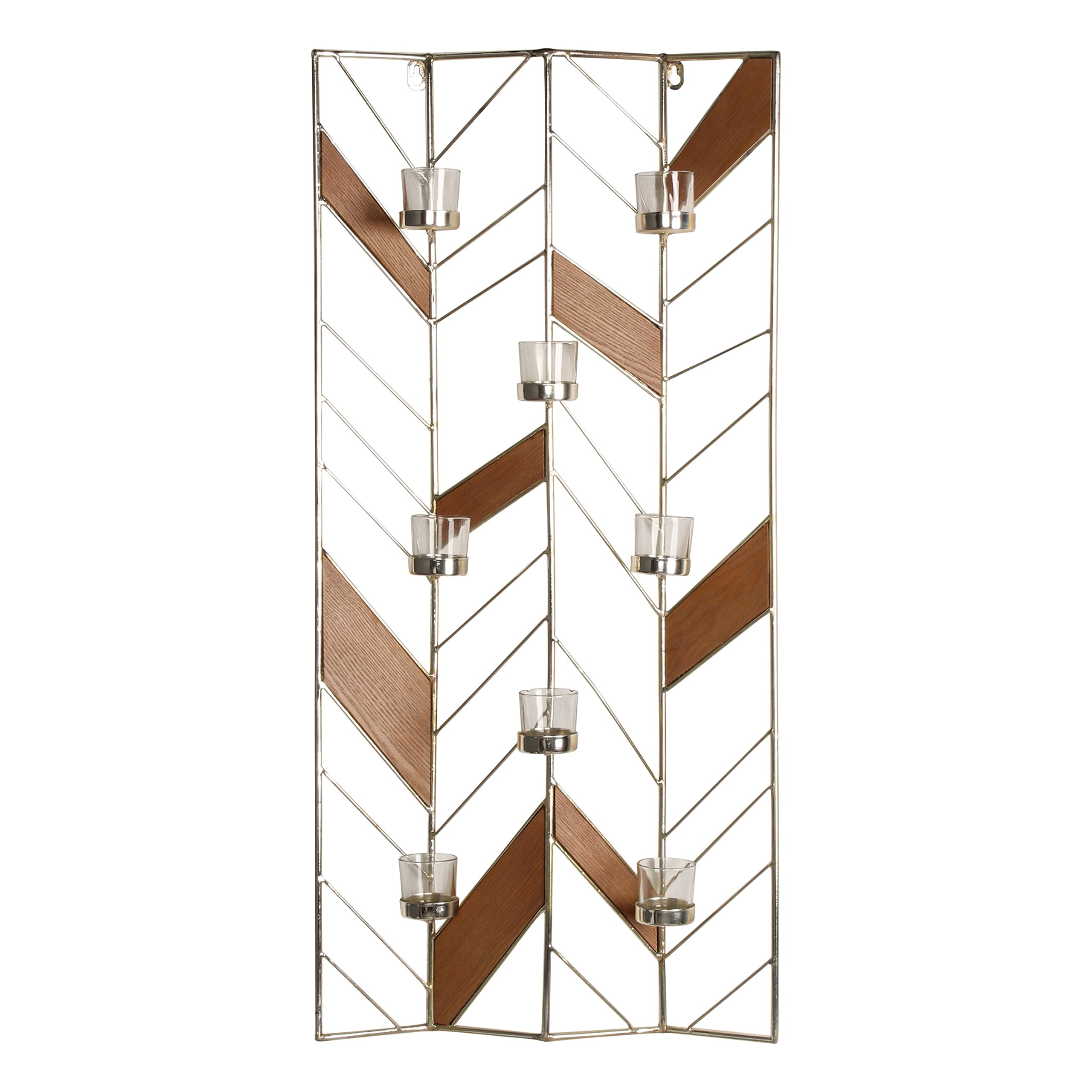 Kate and Laurel Elettra Metal and Wood Tea Light Candle Holder Wall Sconce, Gold