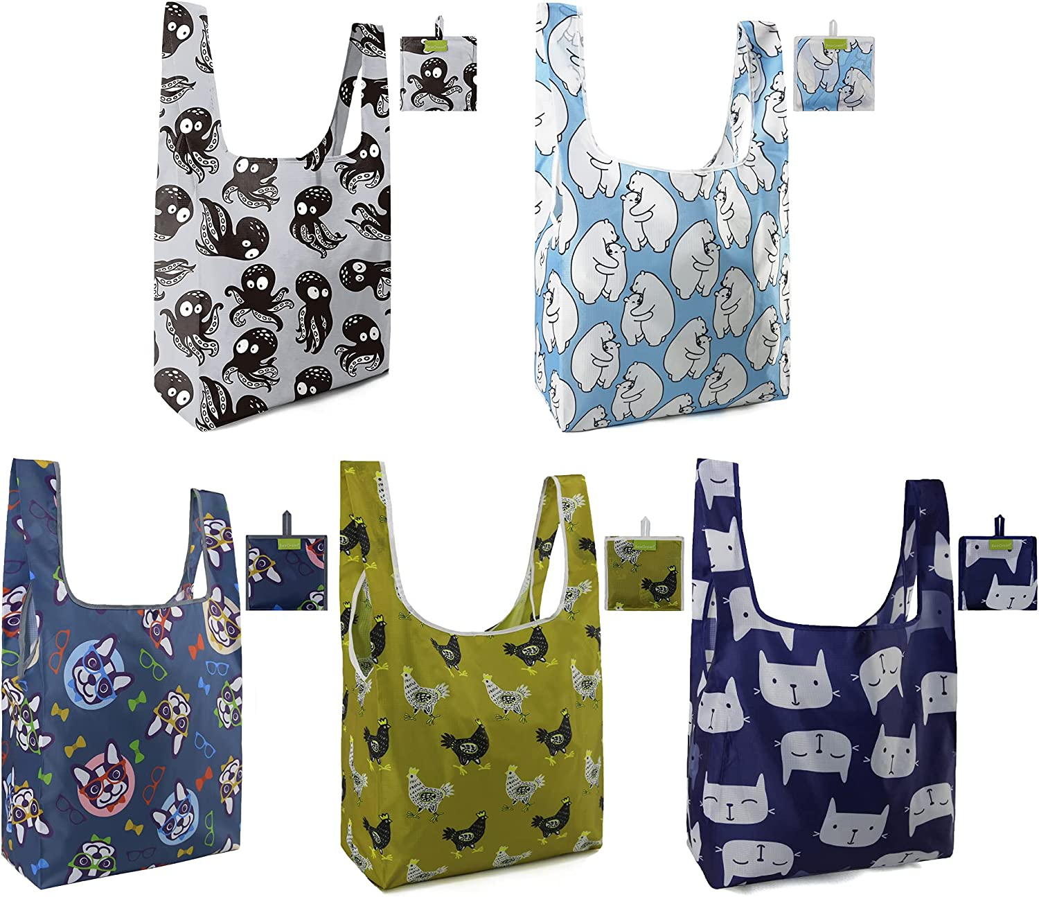 BeeGreen Set of 5 Animal Grocery Bags Reusable Shopping Bags Cute Groceries Bags with Handles Foldable Washable Waterproof Eco-friendly Octopus Bear Dog Chicken Cat
