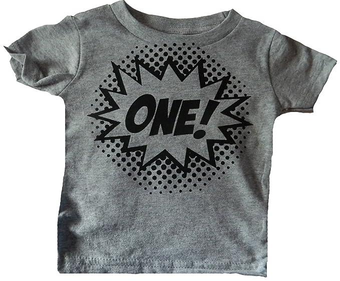 Custom Kingdom Baby Boys QuotOnequot Superhero First Birthday T Shirt