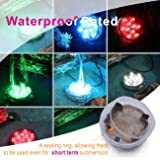 Durawell RGB Color Changing LED Lights, 13 Colors 2 Modes Battery Powered Submersible Lights with Remote and Timer