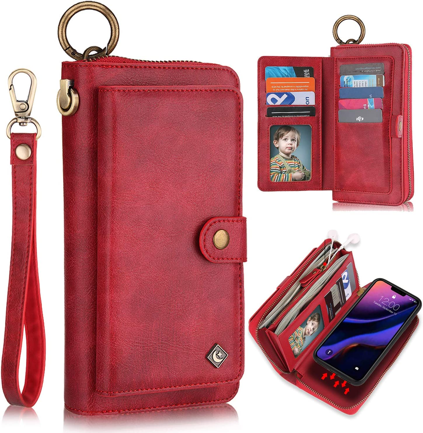 XRPow Wallet Case iPhone 11 Pro Max 6.5Inch [2 in 1] Magnetic Detachable Wallet Case [Vegan Leather] Zipper Clutch Folio Flip Card Solt [Wrist Strap] Purse Protection Back Cover - Red
