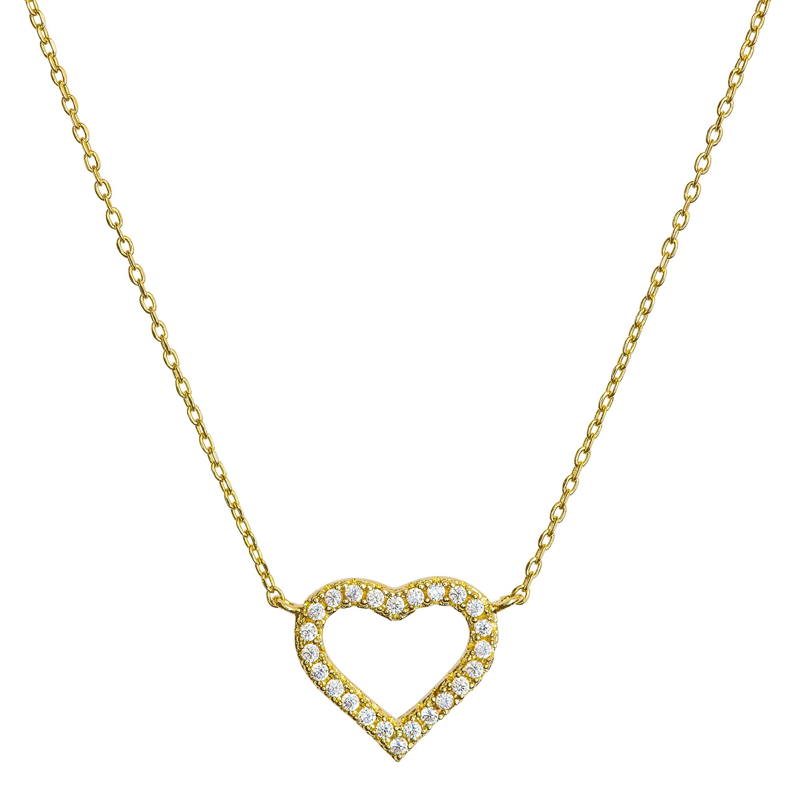 Benevolence LA Heart Necklace: Diamond Shape Cubic Zirconia Stones Jewelry for Woman Teens Girls 14k Gold Dipped Dainty