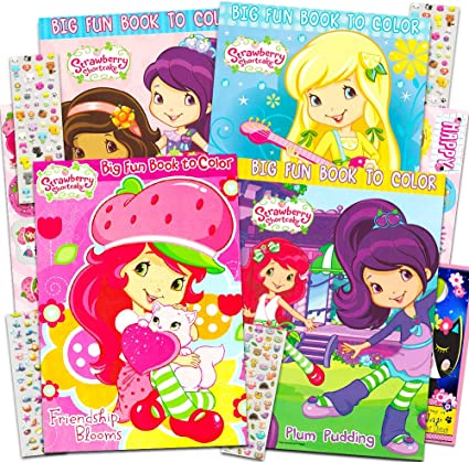 Amazon.com: Strawberry Shortcake Coloring Book Super Set -- 4 Coloring Books,  Over 200 Stickers, And Bonus Door Hanger (Party Supplies Pack): Toys & Games