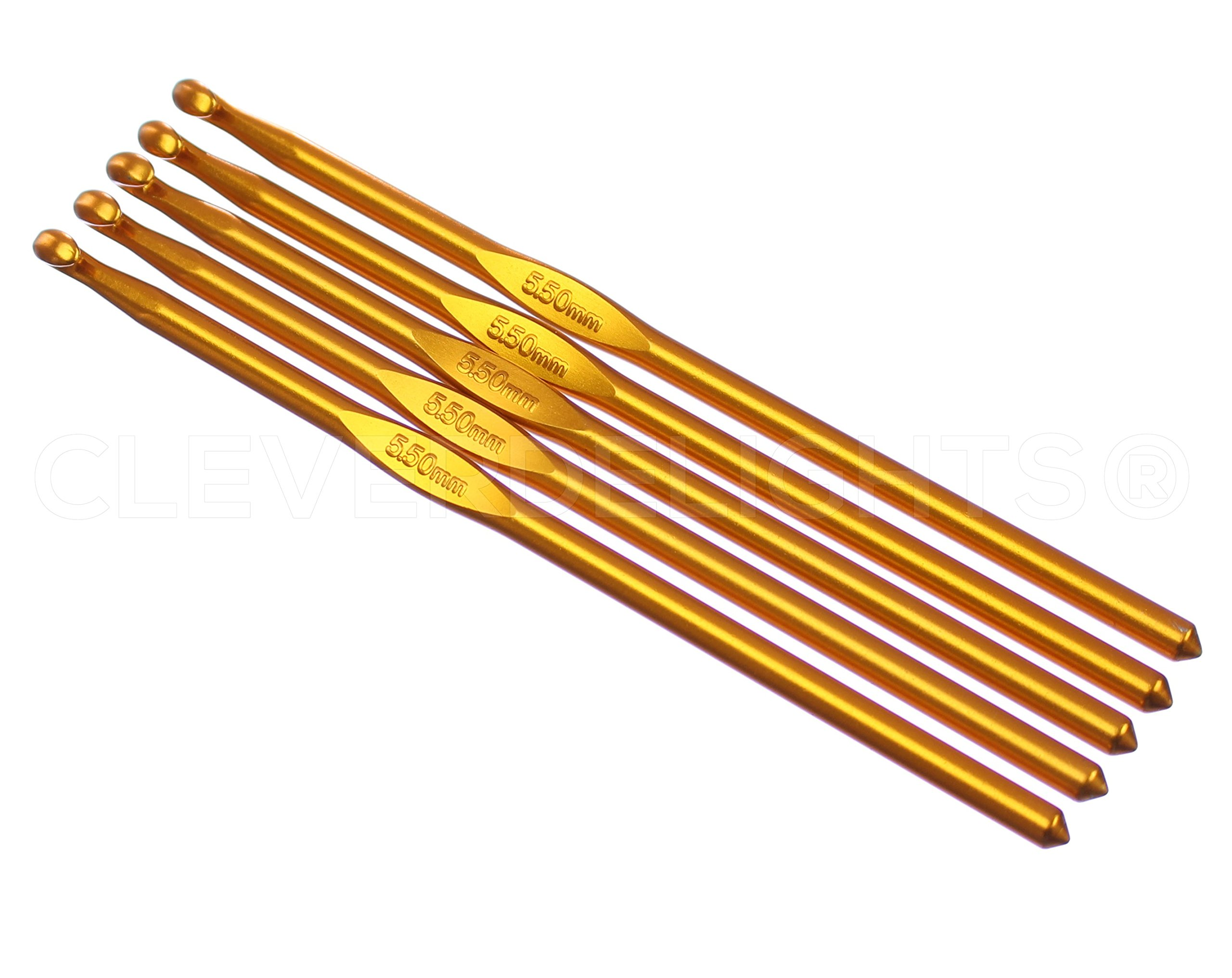 10 Pack - CleverDelights Size I (Size 9) Aluminum Crochet Hooks - 6'' Length - 5.5mm Diameter - Knitting