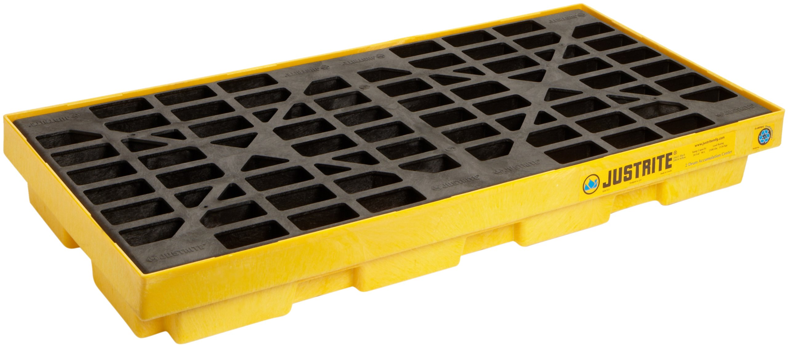 Justrite 28654 EcoPolyBlend 24 Gallon Sump, 49'' x 25'' x 5.5'' (LXWXH) Yellow 2 Drum Modular Accumulation Centers