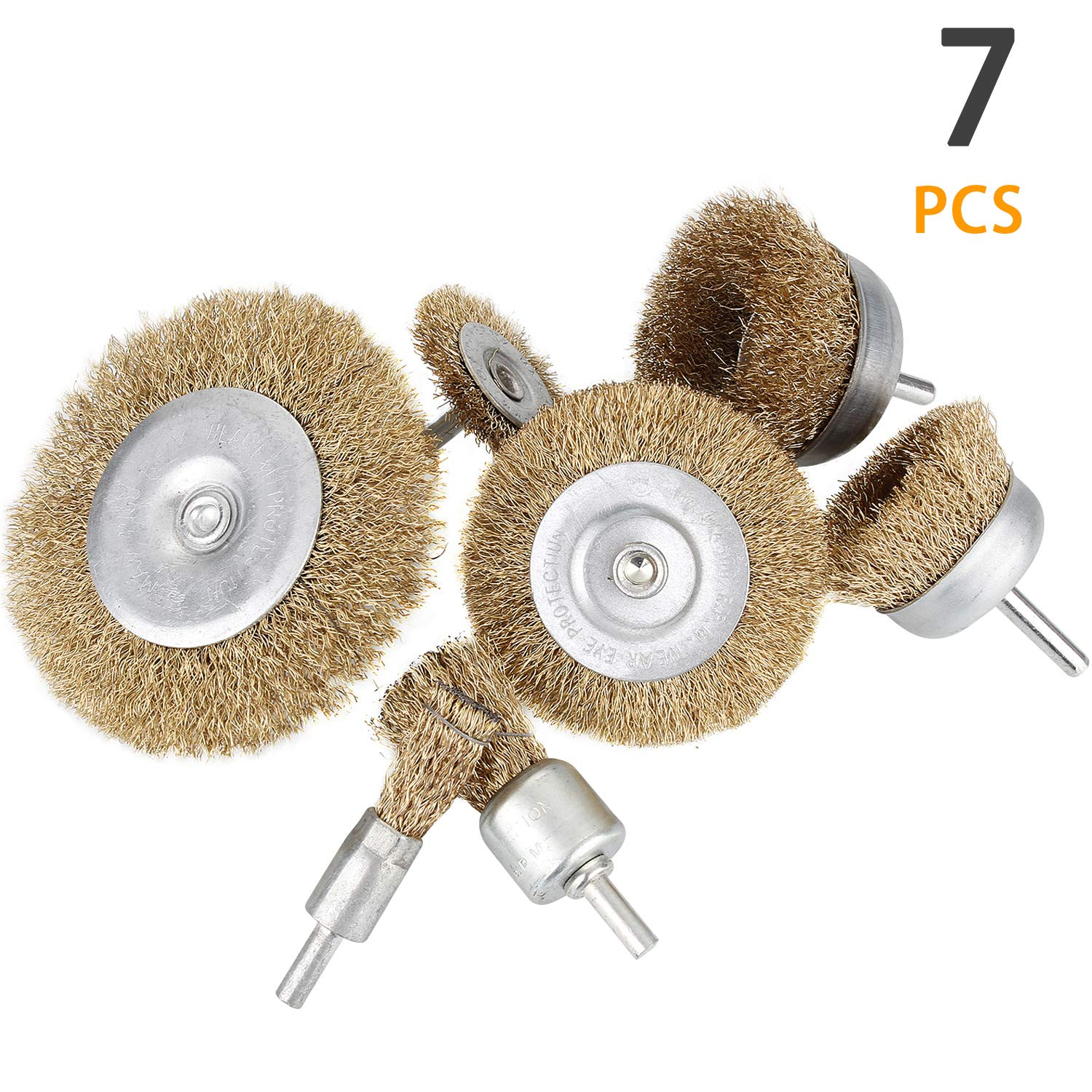Reduced Wire Breakage and Longer Life 7 Sizes Coated Wire Drill Brush Set Perfect For Removal of Rust//Corrosion//Paint Swpeet 7Pcs Brass Coated Wire Brush Wheel /& Cup Brush Set with 1//4-Inch Shank