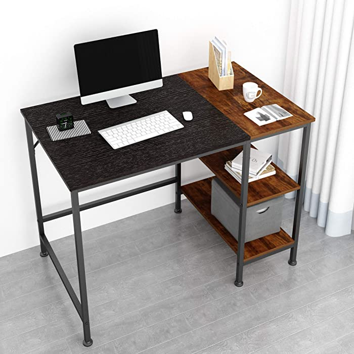 JOISCOPE Computer Desk with Shelves,Laptop Table with Wooden Drawer,40 inches(Black Oak Finish)