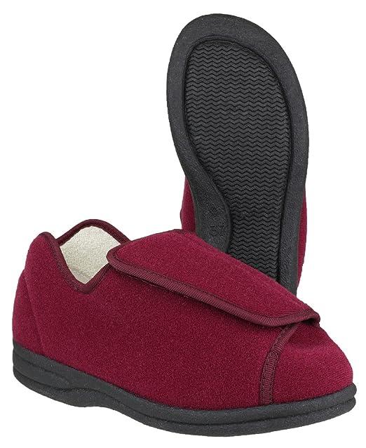 Mirak Ladies Fife Touch Fastening Textile Bootie Slipper Red 7BlOKxp2S