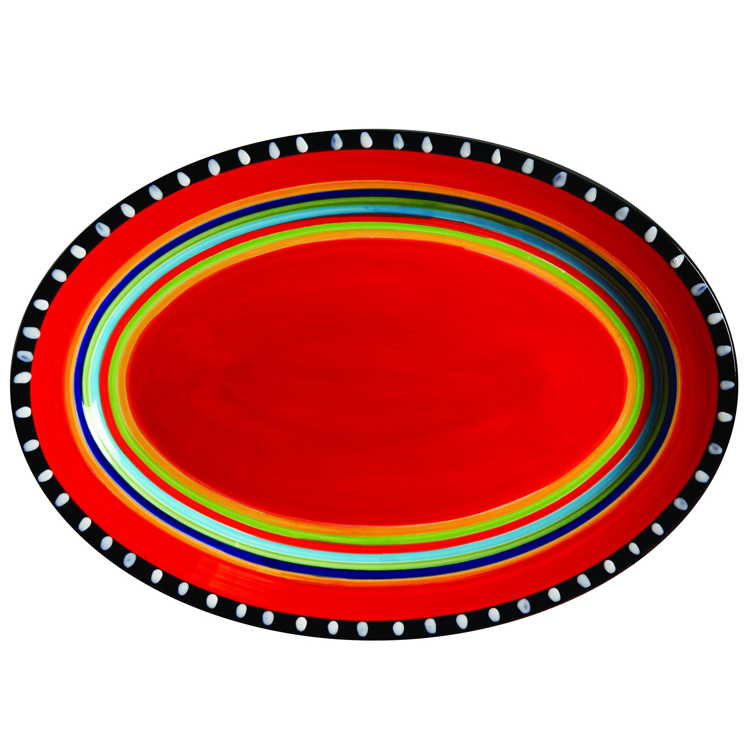 Gibson Elite 100899.01RM Pueblo Springs 14'' Handpainted Oval Platter, Multicolor