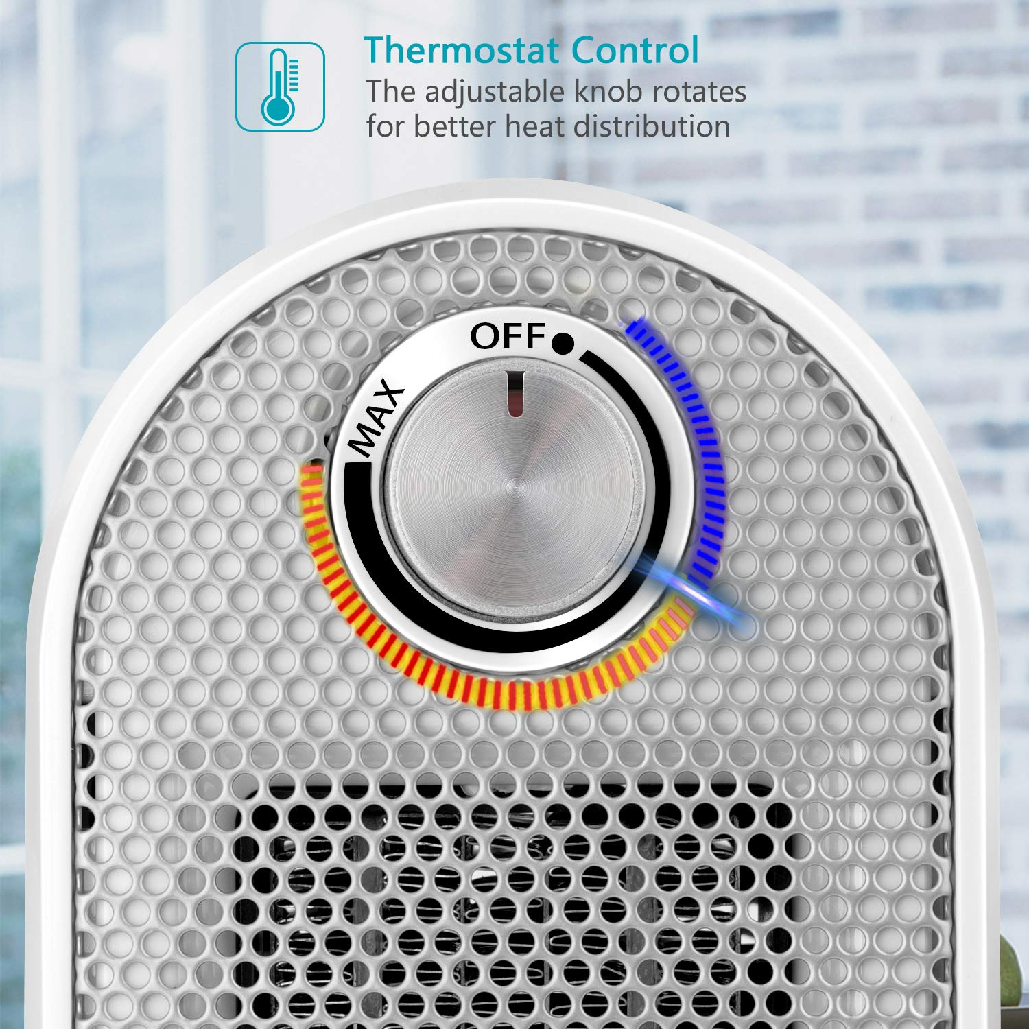 ETL Approved Fast Heating 500 Watt Personal Space Ceramic Heater for Office Desk Home Adjustable Thermostat Overheat Protection Quiet and Powerful Small Portable Electric Heater for Work Study