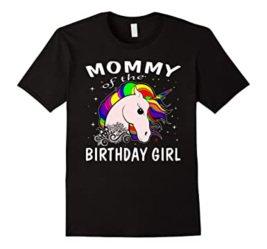 Mens Mommy Of The Birthday Girl Unicorn T Shirts Gifts Mom Mother 2XL Black