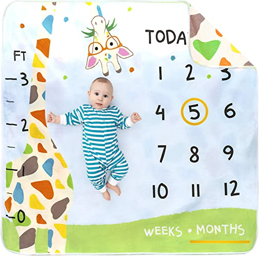 Unisex Props Blankets Month Blanket Baby Pictures Baby Monthly Milestone Blanket For Girl Or Boy Personalized Baby Shower Gifts New Moms Soft Track Age /& Growth Large 60x40 Thick Fleece