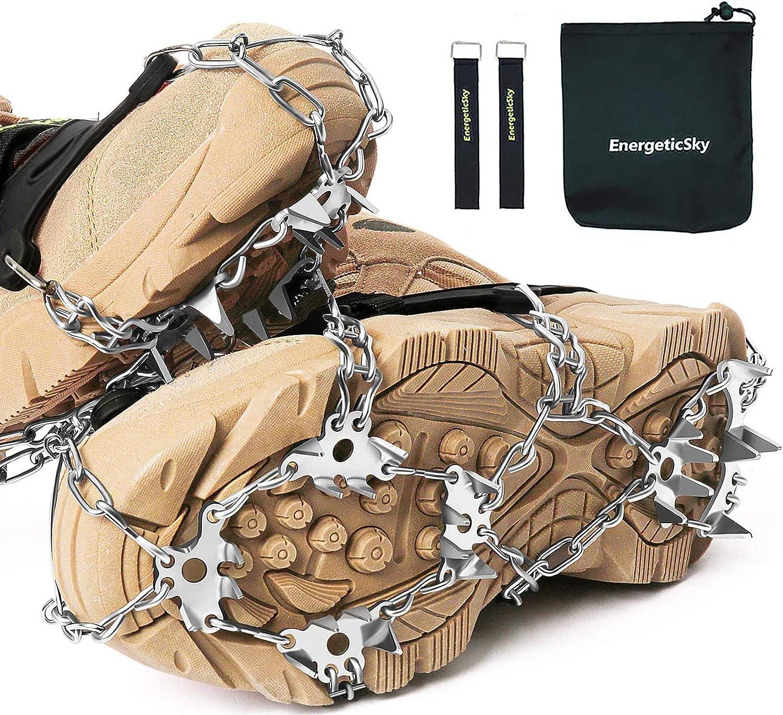 Anti Slip dhiver Glace Neige Grippers Traction Crampons Crampons Spikers Traction de Glace Enfilez Chaussures Bottes Couverture Fit pour la randonn/ée P/êche Escalade Paire de Ice Neige Poign/ées