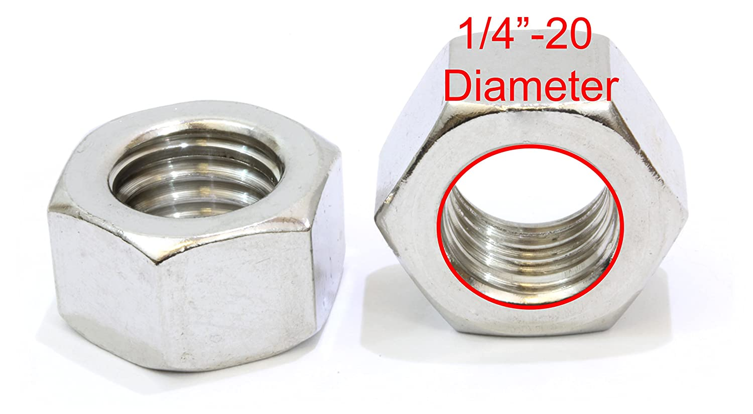 1//4-20 Stainless Hex Nut by Bolt Dropper 100 Pack 304 18-8 Stainless Steel Nuts.