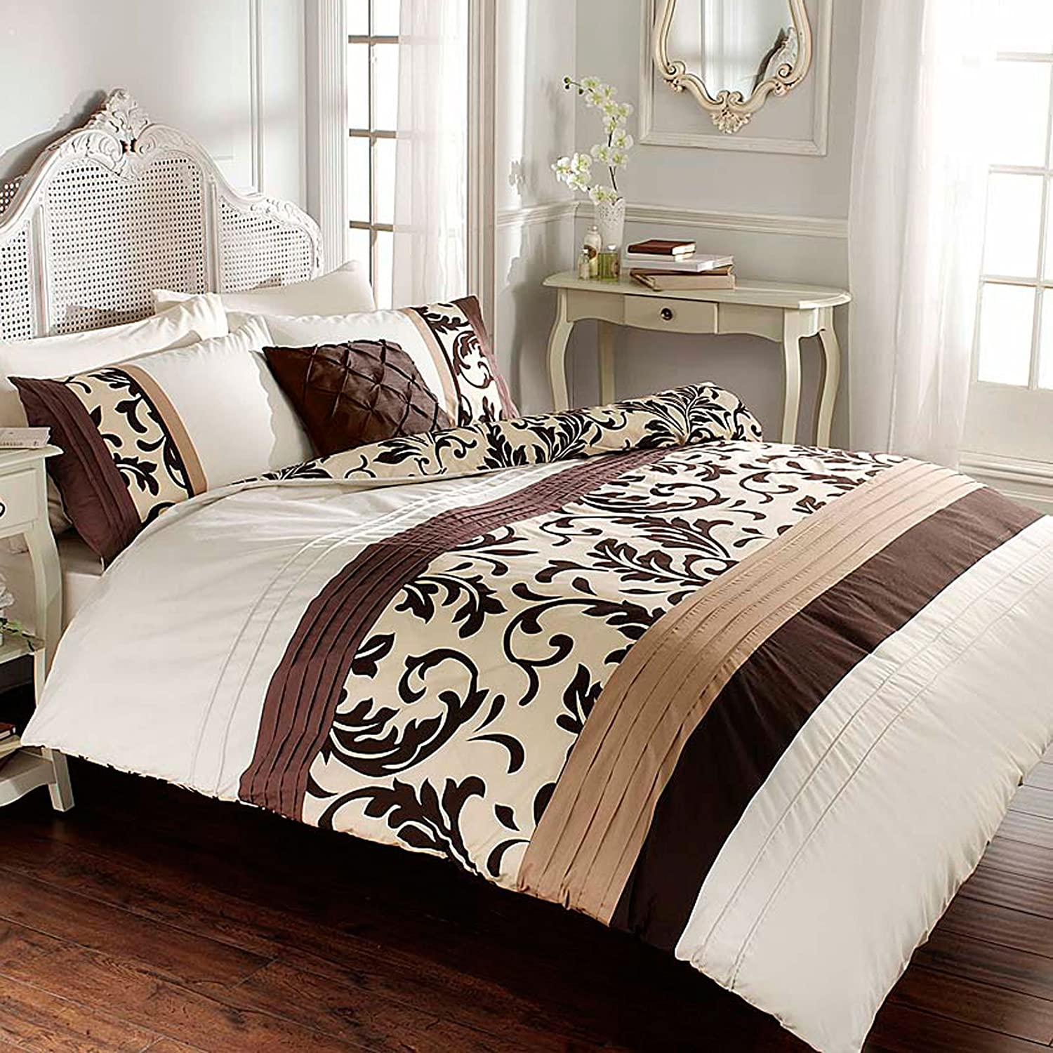 just contempo parure de housse couette scroll double marron ebay. Black Bedroom Furniture Sets. Home Design Ideas