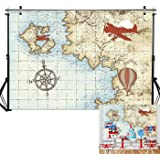 8x12 FT Vintage Airplane Vinyl Photography Backdrop,Retro Seaplane in The Sky World Map Compass Adventure Traveling Journey Background for Photo Backdrop Baby Newborn Photo Studio Props