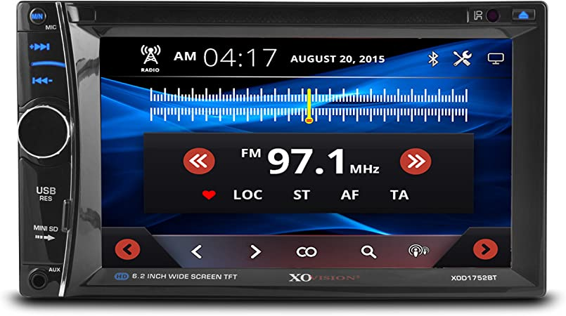 Amazon Com Xo Vision 6 2 Car Stereo Receiver Double Din Digital Lcd Touchscreen System Bluetooth Dvd Player Wireless Remote Control With Rear View Camera
