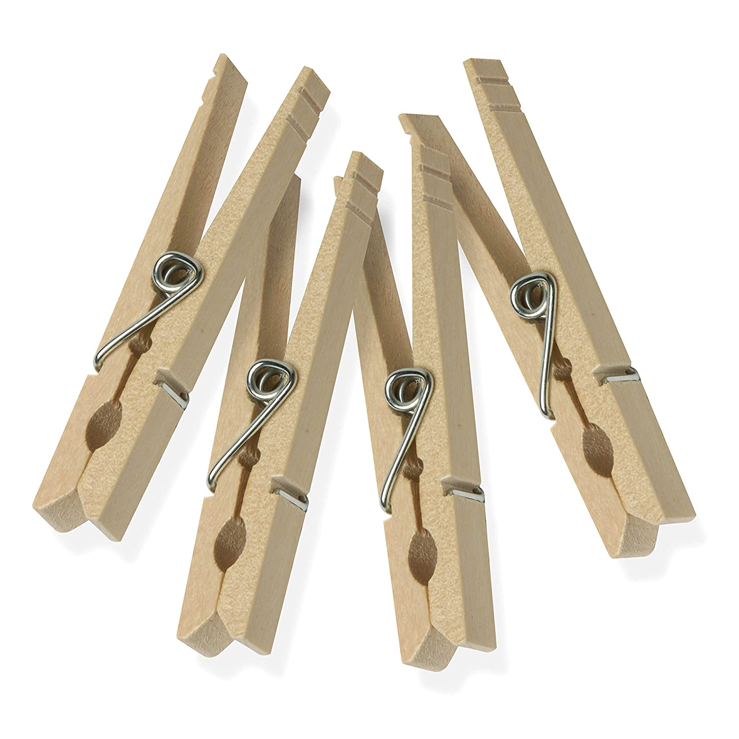 Wood Clothespins with Spring, 100-Pack, 3.3-inches Length