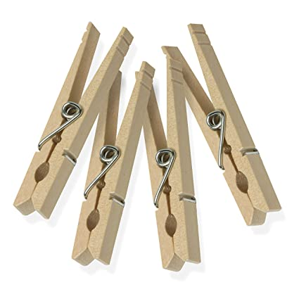 Honey-Can-Do DRY-01375 Wood Clothespins with Spring, 50-Pack