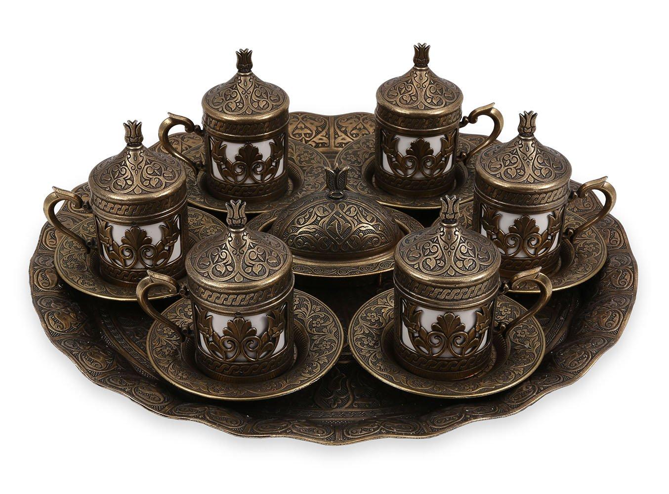 Traditional Design Brass Cast Turkish Armenian Arabic Greek Coffee Espresso Set Tea Set for Six - (CS6-205)