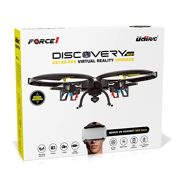 Force1 Drone with Camera Live Video (UDI U818A) Altitude Hold and VR Headset Drone WiFi FPV Quadcopter