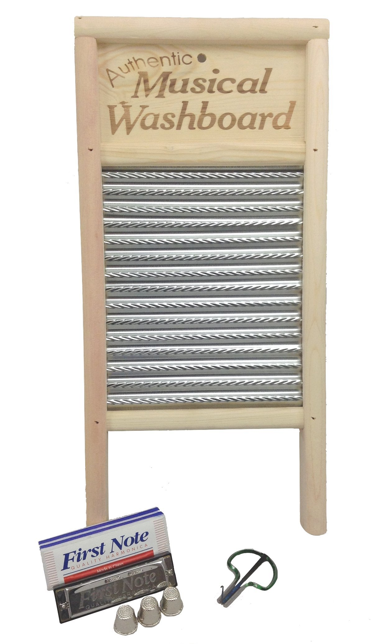 Grover/Trophy Authentic Musical Washboard with Jaw Harp and Harmonica