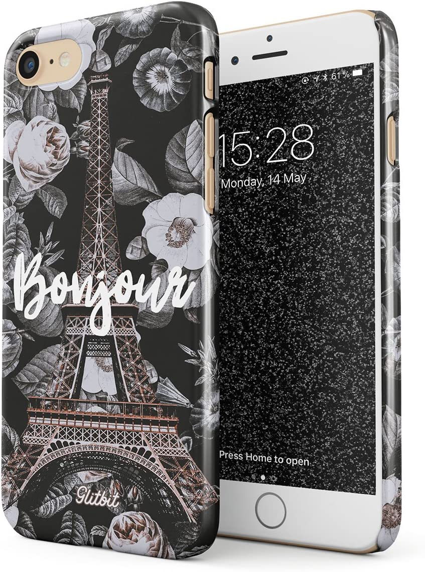 Glitbit Compatible with iPhone 7/8 / SE 2020 Case Bonjour Paris Eiffel Tower Floral France City of Love Roses Flower Thin Design Durable Hard Shell Plastic Protective Case Cover
