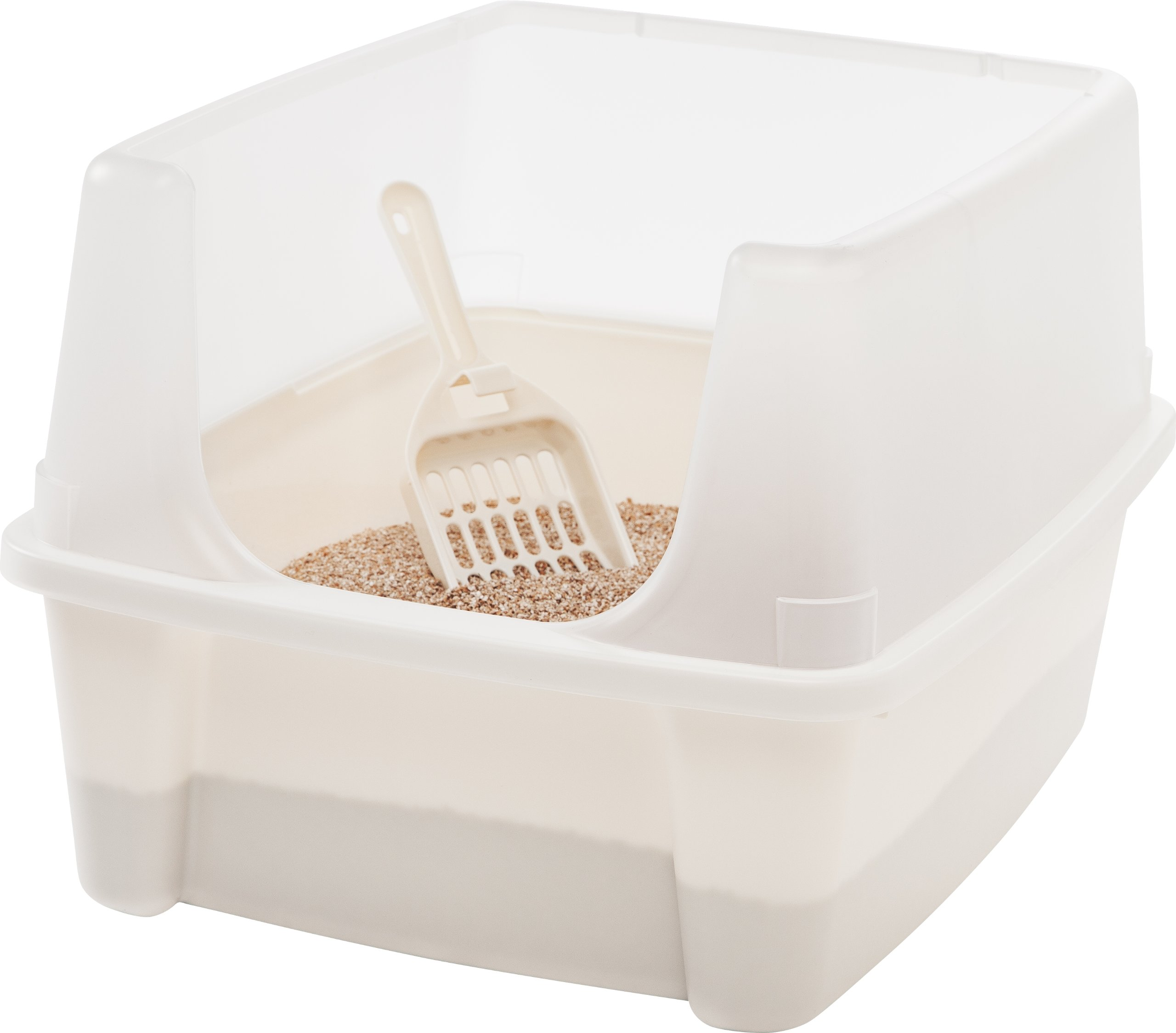 IRIS Open Top Cat Litter Box Kit with Shield and Scoop, White