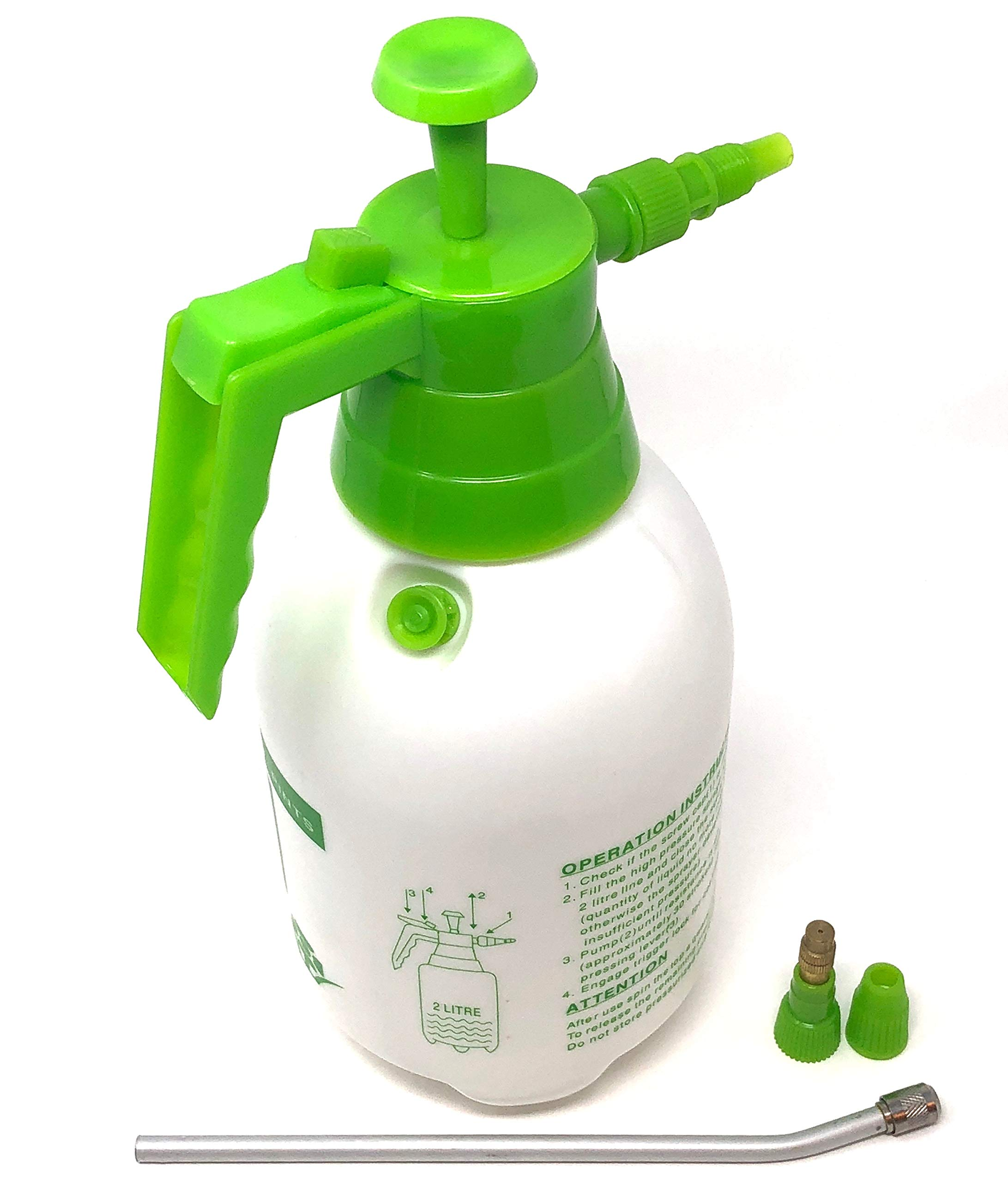 Könnig One-Hand Garden, Lawn and Yard Pressure Pesticide Water Sprayer for Chemicals, Fertilizer, with Bonus Nozzle 0.5 Gallons (White-Green)