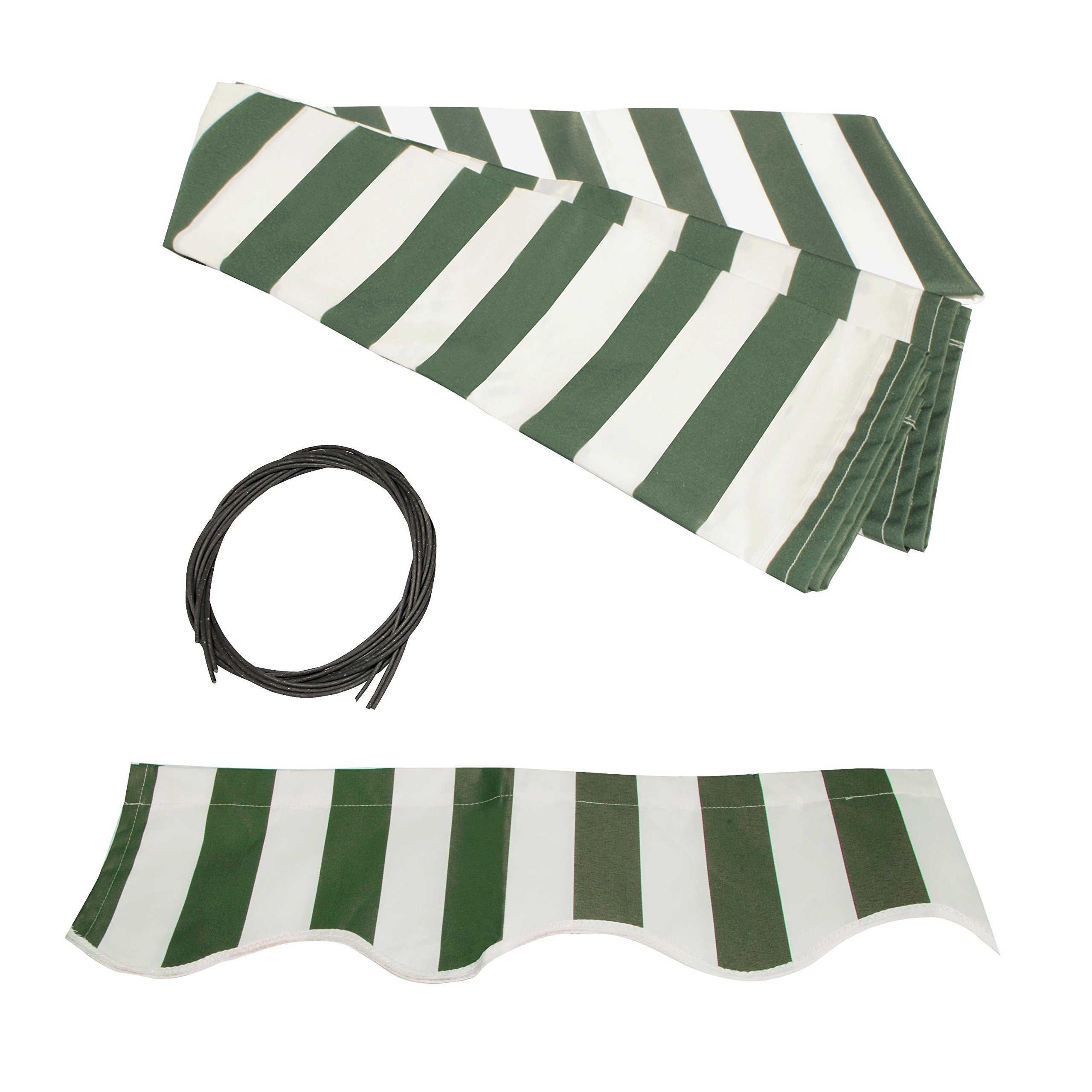 ALEKO FAB10X8GRWT00 Retractable Awning Fabric Replacement 10 x 8 Feet Green and White Striped by ALEKO