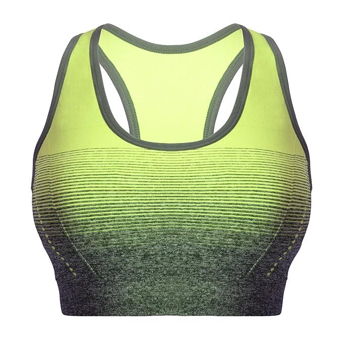 sujetador deportivo amarillo neón para mujer