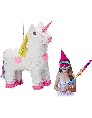 Relaxdays Piñata Unicornio, Papel, Blanco-Rosa, 47 x 43 x 13 cm