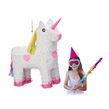 Relaxdays Piñata Unicornio, Color Blanco-Rosa, HxWxD: 47 x 43 x 13 cm (10022562)