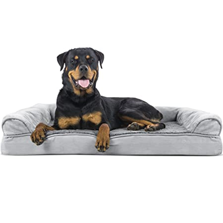 Furhaven Pet Dog Bed Orthopedic Ultra Plush Faux Fur Suede Sofa-Style Living Room Couch Pet Bed for Dogs Cats, Gray, Jumbo
