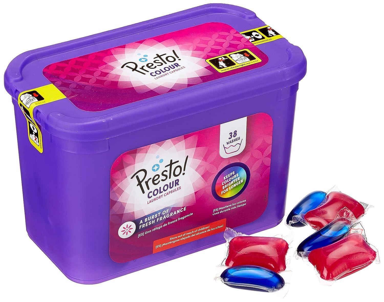 Marca Amazon - Presto! Detergente color en cápsulas, 152 lavados (4 Packs, 38 cada uno): Amazon.es: Salud y cuidado personal