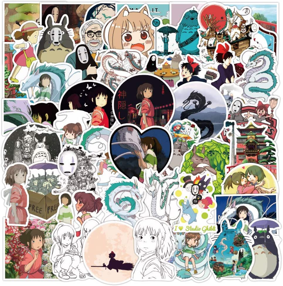 50 Pcs Cute Anime Waterproof Vinyl Stickers of Spirited Away for Kids Teens Boys Girls, Aesthetic Stickers Pack for Hydroflasks Computer Bicyle Car Laptop Mcbook Water Bottle Phone Bike Luggage.